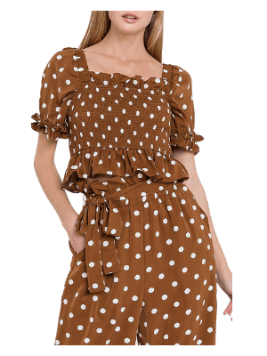 English Factory Polka Dot Smocked Top