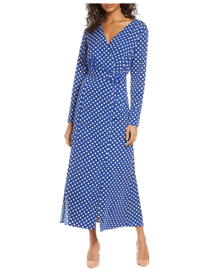 1901 Polka Dot Long Sleeve Maxi Wrap Dress