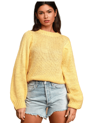 Presley Yellow Knit Balloon Sleeve Sweater - Lulus