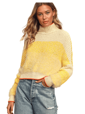 Sunbrite Yellow Multi Knit Turtleneck Sweater - Lulus