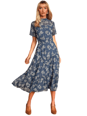 Lulus Floral Dressed Up Dark Green Floral Print Midi Dress Dusty Blue