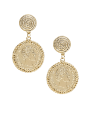 ASOS DESIGN earrings with texture stud and coin drop in gold tone
