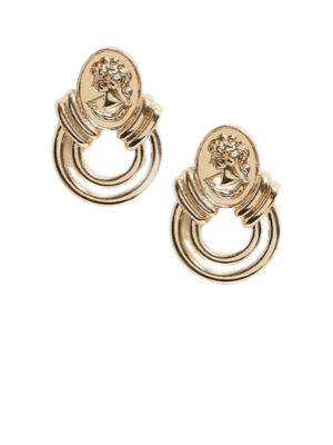 ASOS DESIGN earrings with coin stud and cut out circle drop in gold tone