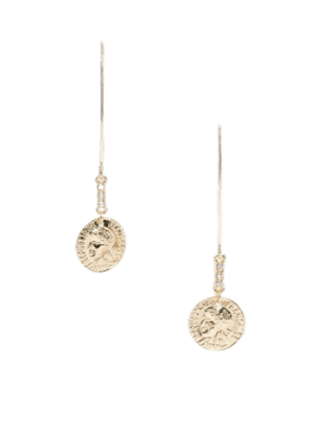 ASOS DESIGN pull through earrings with coin drop in gold tone