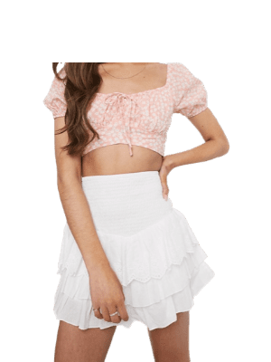 Sisters Of The Tribe Petite ruched mini skirt with broderie ruffles