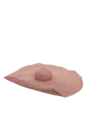 ASOS DESIGN oversized straw hat with size adjuster in pink