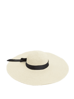 My Accessories London wide brimmed straw sun hat with bow tie detail