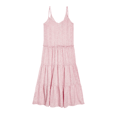 Topshop Floral Print Tiered Satin Slipdress