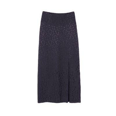 Express High Waisted Textured Jacquard Front Slit Midi Skirt