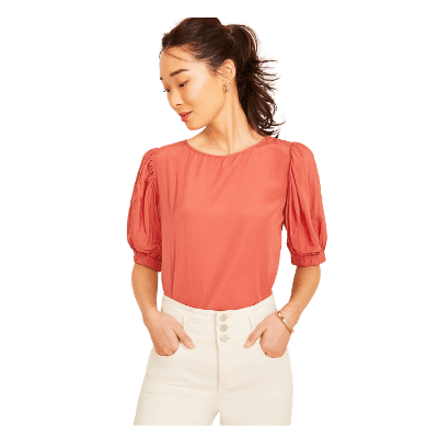 Ann Taylor Tie Back Puff Sleeve Top