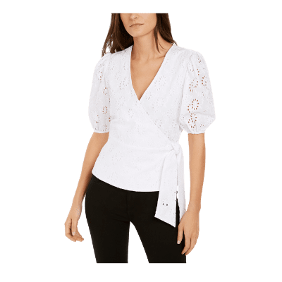 INC Cotton Puff-Sleeve Eyelet Faux-Wrap Top