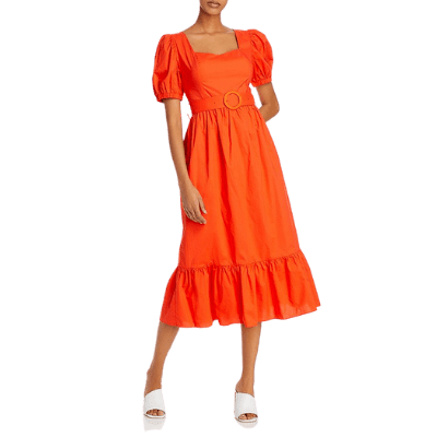 Endless Rose Belted Puff-Sleeve Midi Dress