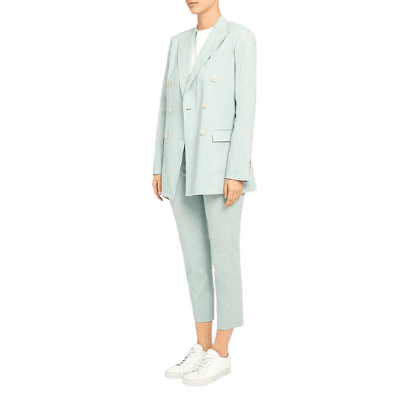 Theory Linen Double-Breasted Blazer