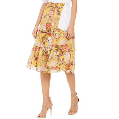 INC Tiered Floral Midi Skirt