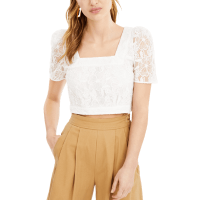 French Connection Puff-Sleeve Lace Top